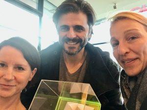 Übergabe Freischreiber Himmel-Preis 2019: Carola Dorner, Juan Moreno, Nicola Kuhrt (von links)